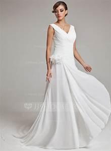 forme princesse col v traine mi longue mousseline robe de With robe de mariée jjshouse