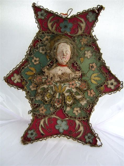 antique christmas ornament cardboard with figure on front