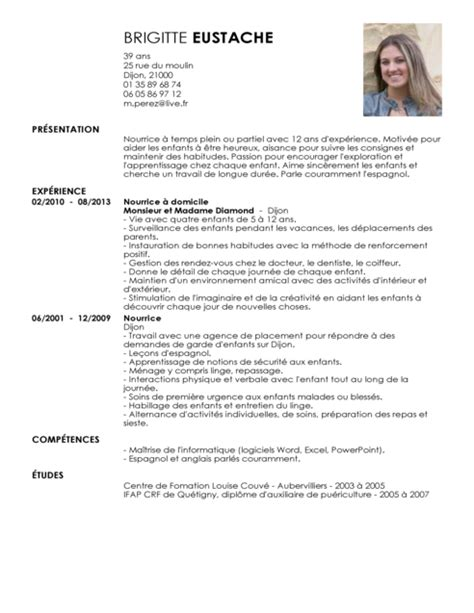 Rediger Un Cv Modele by Modele Cv Garde Enfants Ataboxe