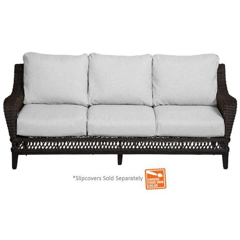 home depot patio cushion covers hton bay woodbury patio sofa with cushion insert