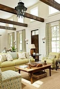 salon design en style rustique en 24 idees With tapis jaune avec canapé style campagne anglaise