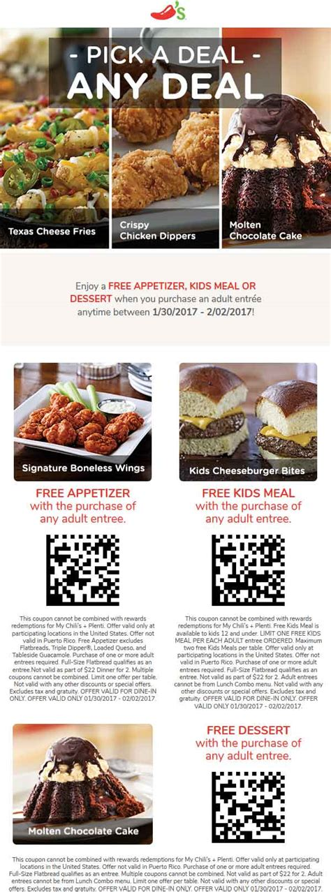31753 Free Dessert Coupon Chilis by Chilis Coupons Free Appetizer Meal Or Dessert With