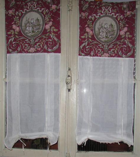2 rideaux store voile de coton toile de jouy 110x39 cm