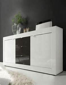 buffet bahut blanc et gris laque design focus 3 With charming meuble etagere avec porte 3 meuble tv laque blanc et anthracite design focus 3