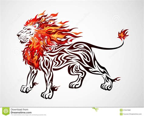 tribal fire lion royalty  stock  image