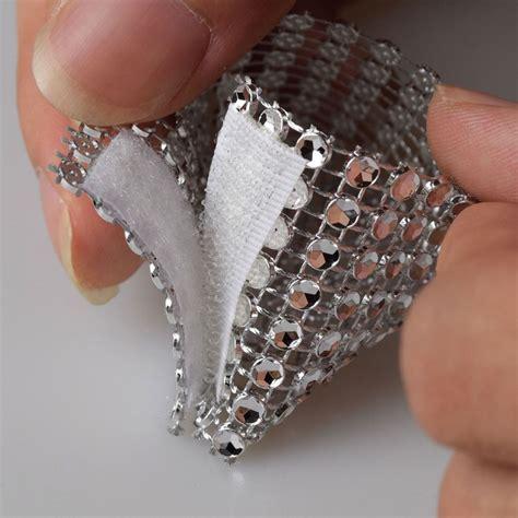 free shipping 100 rhinestone bow covers velcro 8 row silver wedding chair sash napkin rings