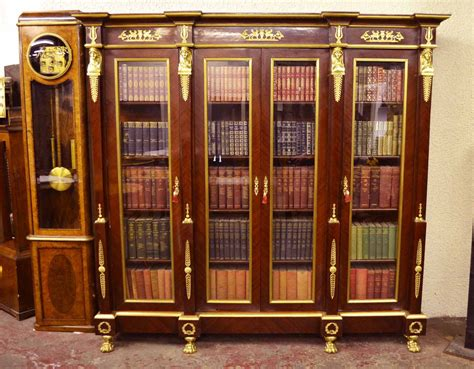 4 Ft Wide Bookcase by Regent Antiques Bookcases Large Empire Style Mahogany
