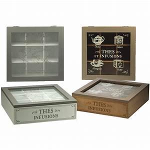 Boite à Tisane : boite th en bois pour th tisanes 9 compartiments ~ Teatrodelosmanantiales.com Idées de Décoration