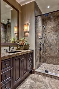 Luxurious, Marble, Bathroom, With, Glass, Enclosed, Shower