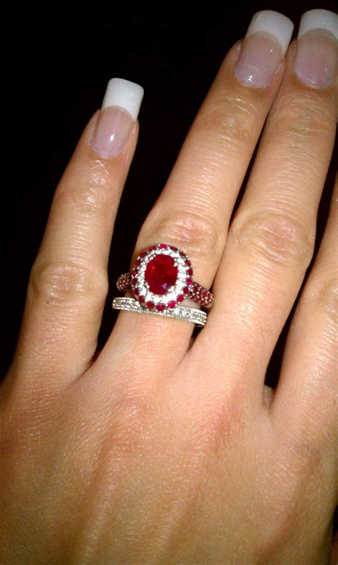 ruby and engagement ring wedding band ringspotters