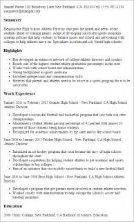 college student athlete resume template professional high school athletic director templates to showcase your talent myperfectresume