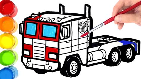 draw  color transformers optimus prime trailer truck learn colors youtube
