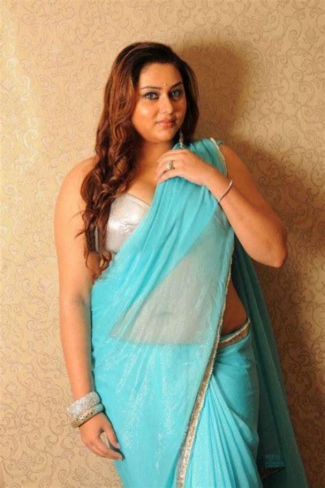 south india namitha blue saree exclusive gallery beautiful indian