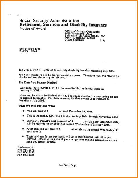 award letter social security award letter from social security sle the best letter