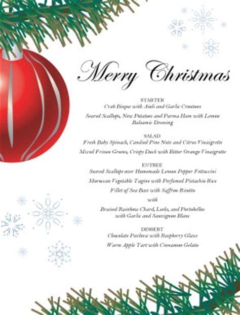 red ornament christmas menu christmas menus