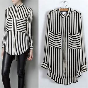 Black White Vertical Stripe Long Sleeve Shirt Chiffon ...