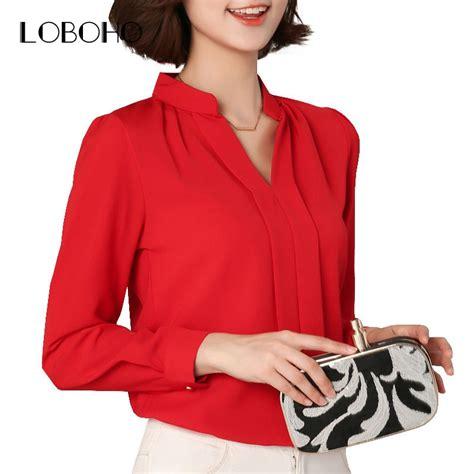 black red white chiffon blouse women autumn  long