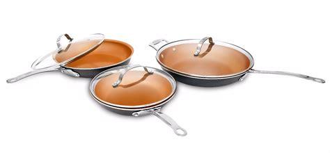 gotham steel nonstick copper  piece ultimate fry pan set   sizes  lids    tv