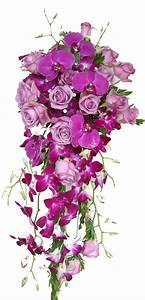 Cascade wedding bouquet with purple phalaenopsis orchids ...