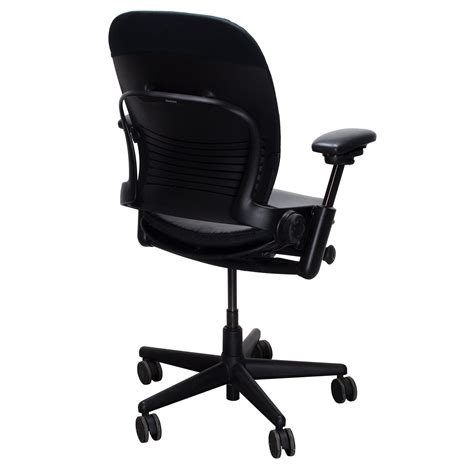 steelcase leap v2 used leather seat task chair black