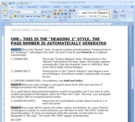 Microsoft Word Screenplay Template by Oscar Wilde Comics A Comic Script Template For Word With