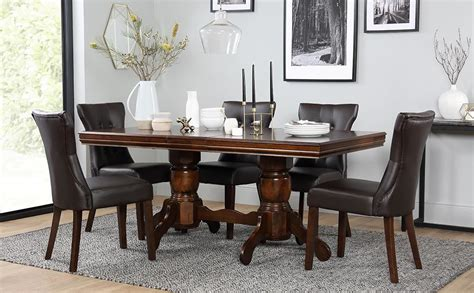 wooden dining table and 6 chairs chatsworth dark wood extending dining table and 6 chairs