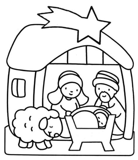 nativity for kindergarten coloring page 155 | Nativity Scene for Kindergarten Kids Coloring Page
