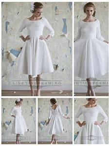 classic vintage a line 3 4 length sleeves tea length With 3 quarter length wedding dresses