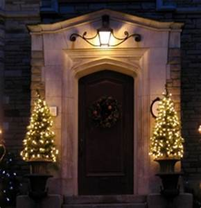 Pre Lit Potted Christmas Trees at Your Front Door
