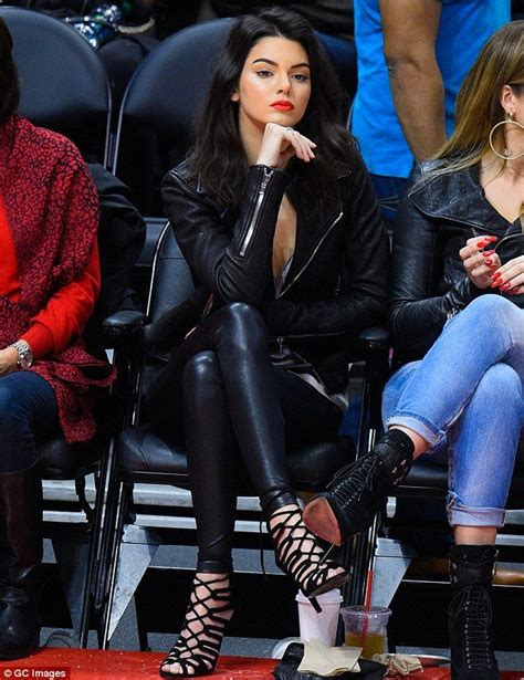 Kendall Jenner and Khloe Kardashian look edgy in leather at LA game | Fashion forward Leather ...