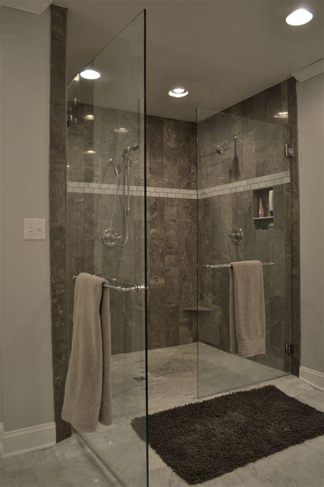 grey tile shower master bathroom reveal