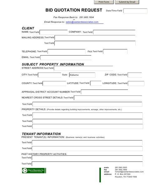 bid submission form template bid quotation form