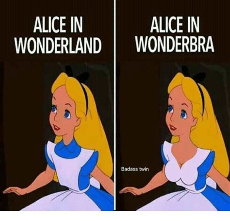 Alice In Wonderland Memes - alice in alice in wonderland wonderbra badass twin meme on sizzle