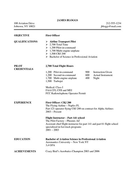 Entry Level Pilot Resume by Professional Pilot Resume Professional Pilot Resume