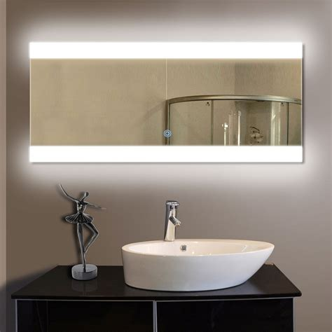 80 x 36 in horizontal led bathroom silvered mirror with