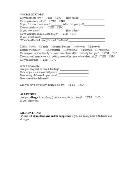patient consultation form