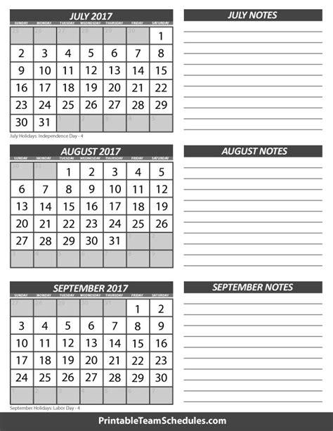 july august september  month  calendar print