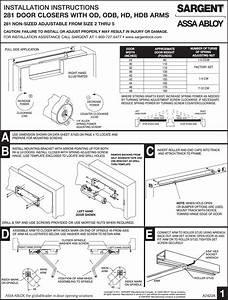 Sargent Installation Instructions For 281 Series Door