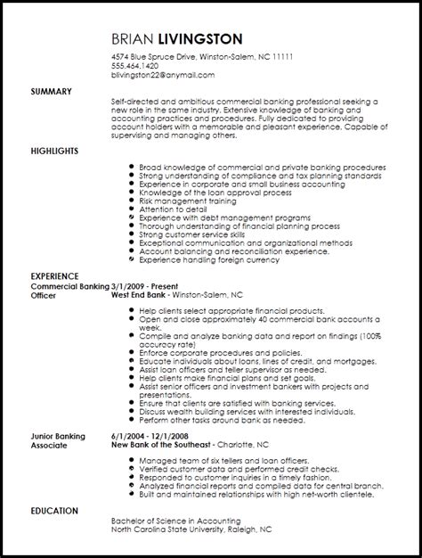 Resume Banker by Free Professional Banking Resume Template Resume Now
