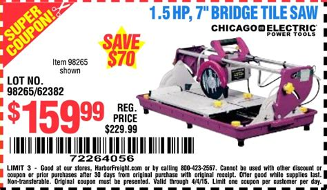Harbor Freight Tools Tile Saw by Harbor Freight Coupon 1 5 Hp 7 Quot Bridge Tile Saw Lot No