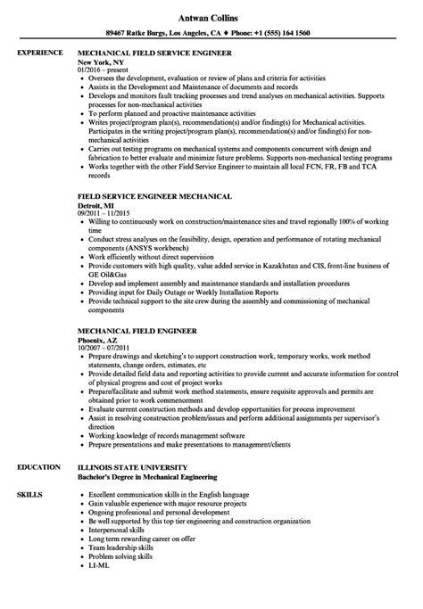 mechanical field engineer resume sles velvet
