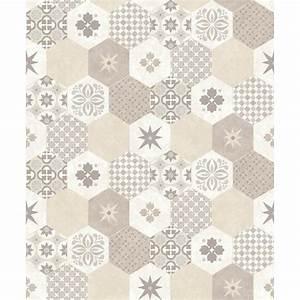 Papier Adhésif Carreaux De Ciment : papier peint carreaux de ciment hexagone beige ~ Premium-room.com Idées de Décoration