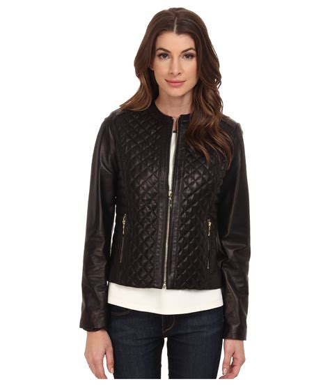 leather apparel cole haan collarless moto quilted leather jacket