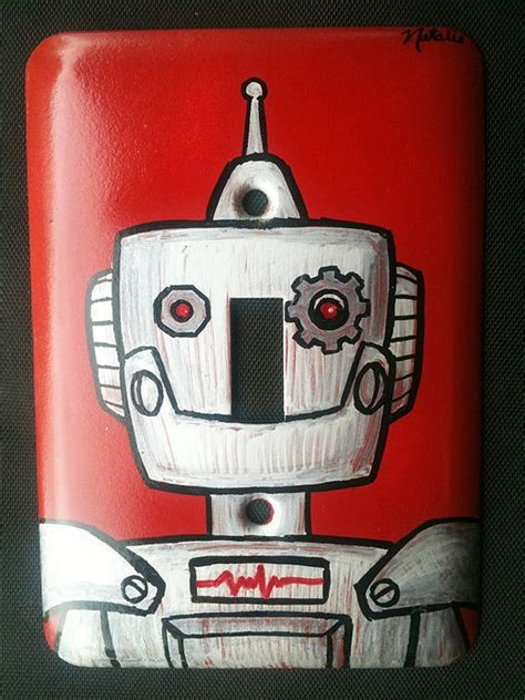 humanoid decor hand painted robot light switch covers