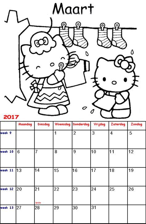 Kleurplaat Kalender Maart by Kleurplaten Voor Kinderen Hello Kalender 2017