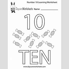 Free Preschool Number Ten Learning Worksheet