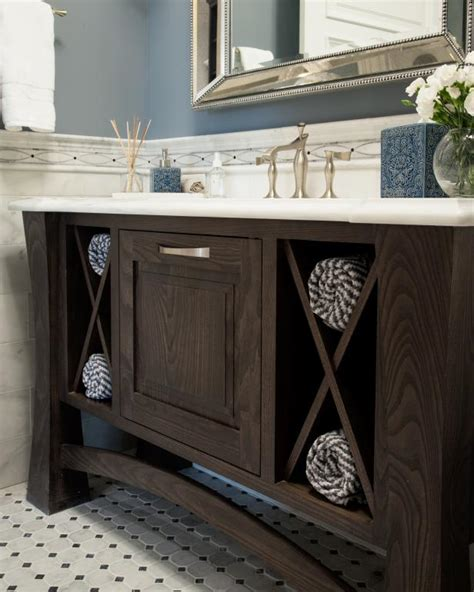 powder room vanity  open storage  towels hgtv