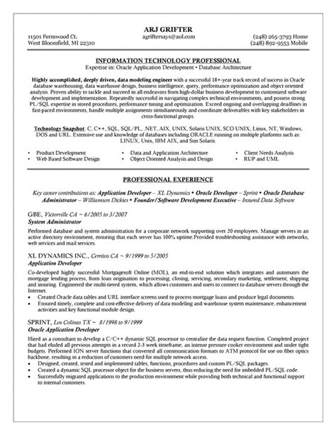 Resume Database by Oracle Database Administrator Resume Sle