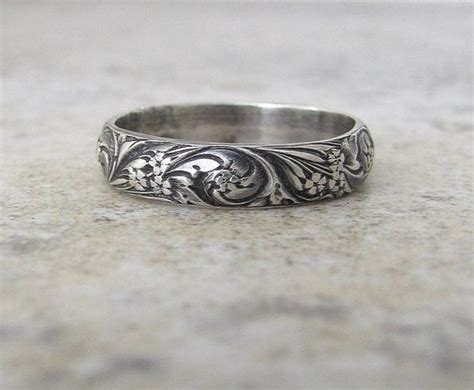 wedding band floral pattern ring silver by silversmack