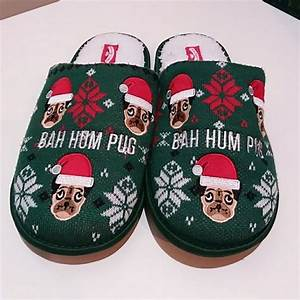 Holiday Time Shoes Bah Hum Pug Christmas Slippers Sz Xl